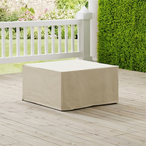 Crosley Patio Square Coffee Table Cover in Tan Perspective: top