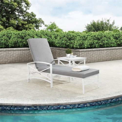 Crosley Kaplan Metal Patio Chaise Lounge in Gray and White Perspective: top