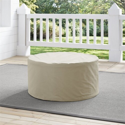Crosley Catalina Round Patio Coffee Table Cover in Tan Perspective: top