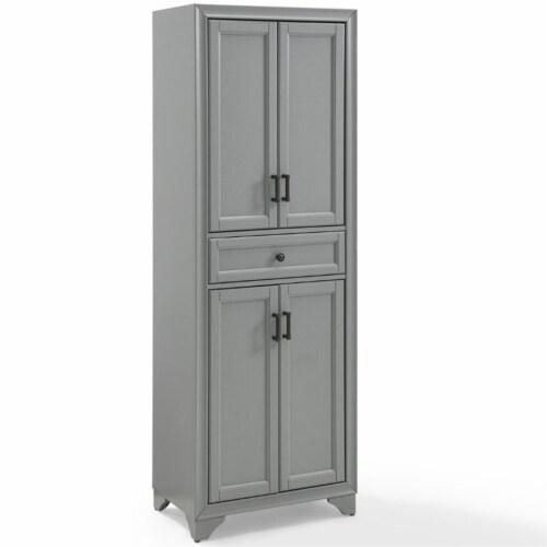 Crosley Tara 4 Door Pantry in Distressed Gray Perspective: top