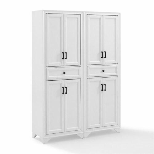 Crosley Tara 4 Door Pantry Set in Distressed White (Set of 2) Perspective: top
