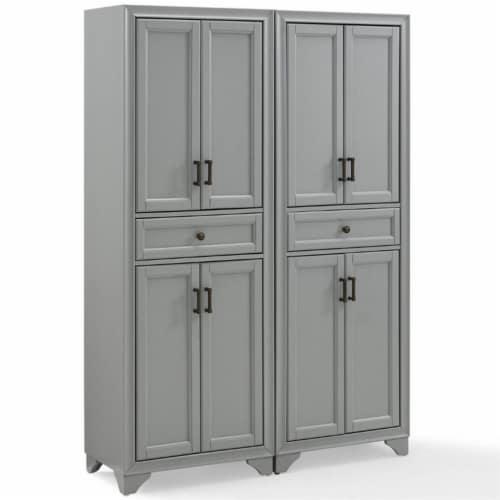 Crosley Tara 4 Door Pantry Set in Distressed Gray (Set of 2) Perspective: top