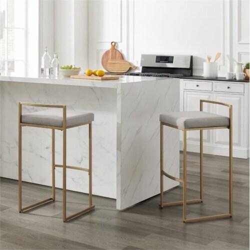 Crosley Furniture Harlowe Modern Steel Framed Velvet Bar Stools, Gray (Set of 2) Perspective: top