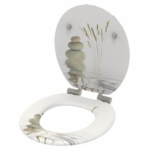 Sanilo 161 Round Soft Close Molded Wood Adjustable Toilet Seat, Balance Stones Perspective: top