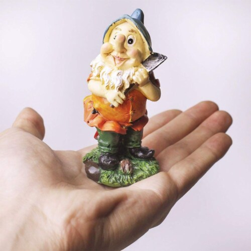 "Juvale 6 Pcs Happy Mini Gnome Figurines Accessories Set for Fairy Gardens, 4"" Perspective: top"