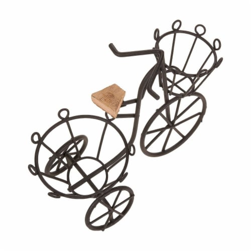 Juvale Miniature Bicycle Planter Stand for Succulents and Plants (7 x 6 x 3 in, Black) Perspective: top