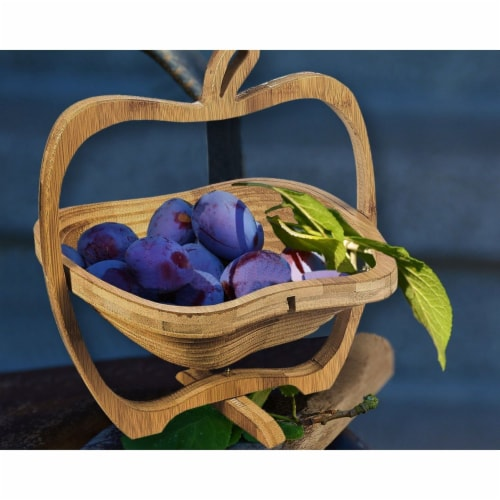 Juvale Apple Design Collapsible Bamboo Fruit Bowl - Fruit Basket, Brown, 10.5 x 11.7 x 8.7 Perspective: top