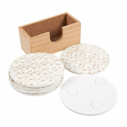 Juvale 6 Pack Round Wood Coasters with Holder, White Floral Design, 3.8 Inches Diameter Perspective: top