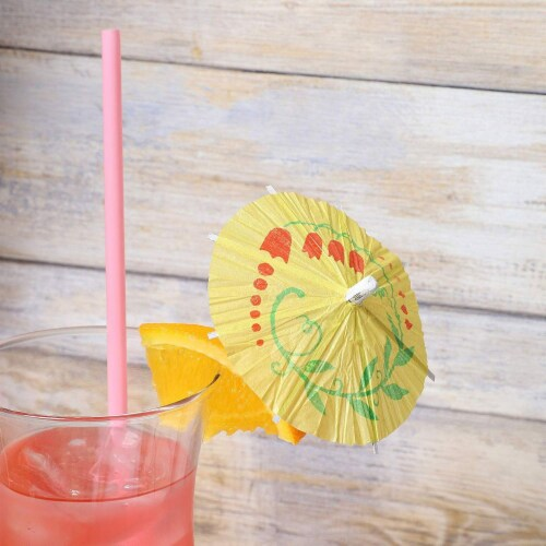 Juvale 200-Pack Tropical Hawaiian Party Paper Cocktail Drink Umbrella Parasols Perspective: top