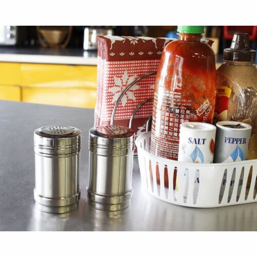 Stainless Steel Salt and Pepper Shakers for Kitchen - 3.5 Inch Perspective: top