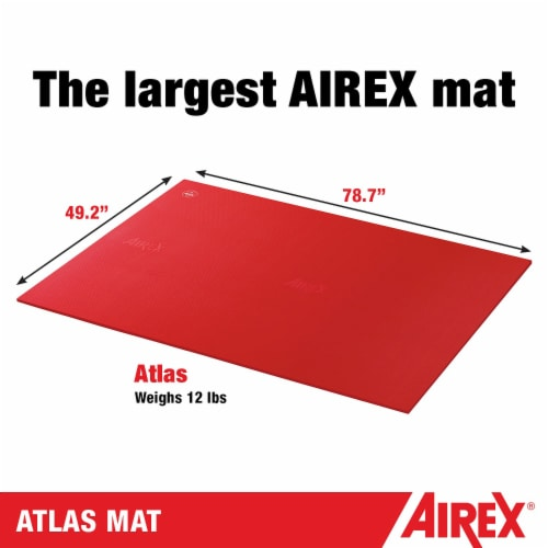 Airex Atlas Closed Cell Foam Fitness Mat for Yoga, Pilates, and Gym Use, Red Perspective: top