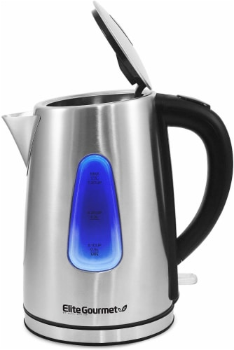 Elite by Maxi-Matic Cordless Electric Kettle - Silver/Black Perspective: top