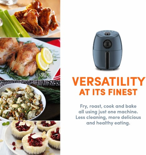 Elite Gourmet Hot Air Fryer - Blue Gray Perspective: top