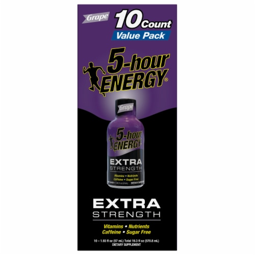 5-Hour Extra Strength Grape Energy Shots Perspective: top