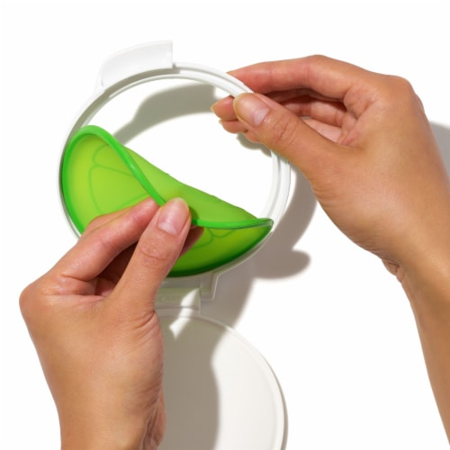 OXO Good Grips Cut and Keep Silicone Citrus Storage Container - White/Lime Green Perspective: top