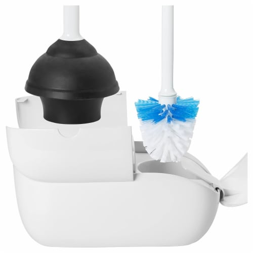 OXO Good Grips Bathroom Hideaway Toilet Brush and Plunger Combination Set, White Perspective: top