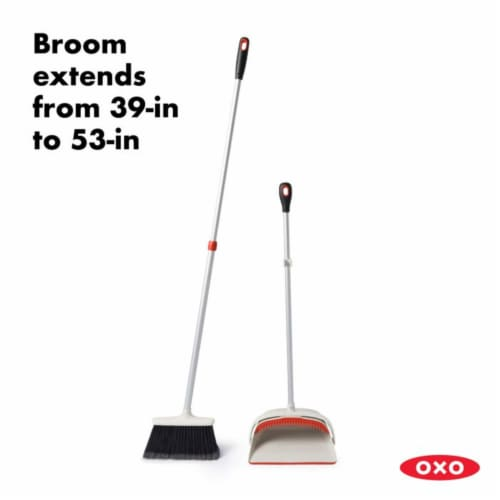 OXO Large Extendable Broom and Dustpan 2 Piece Upright Cleaning Sweeper Set Perspective: top