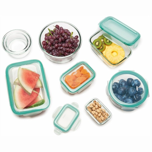 OXO Good Grips 16 Piece Glass Food Storage Round Square Container Set with Lids Perspective: top