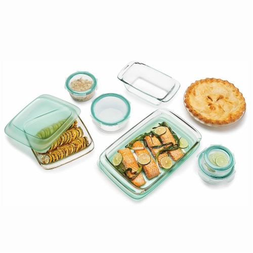 OXO Good Grips 14 Piece Clear Glass Bake, Serve, and Food Storage Set with Lids Perspective: top