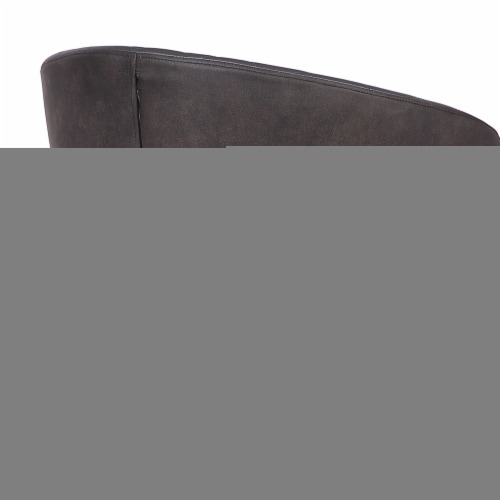 Armen Living Ava Faux Leather Dining Arm Chair in Gray and Black Perspective: top