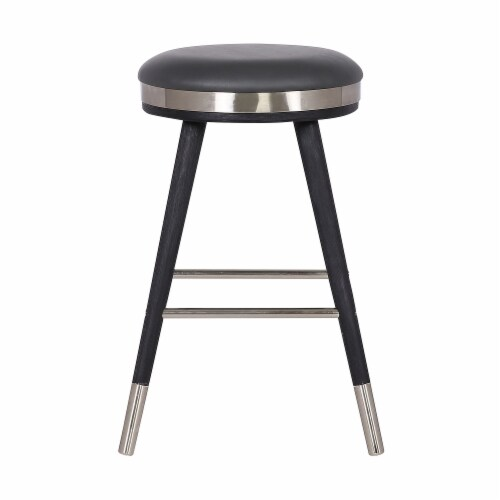 Clara Backless Modern 26  Black Faux Leather Bar Stool Perspective: top