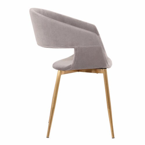 Jocelyn Mid-Century Grey Dining Accent Chair with Gold Metal Legs Perspective: top