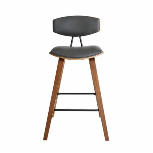 Armen Living Fox 26  Faux Leather Kitchen Counter Stool in Gray and Walnut Wood Perspective: top