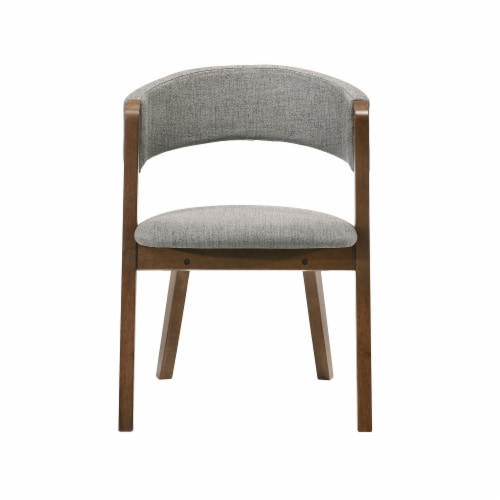 Rowan Grey Upholstered Dining Chairs in Walnut Finish - Set of 2 Perspective: top