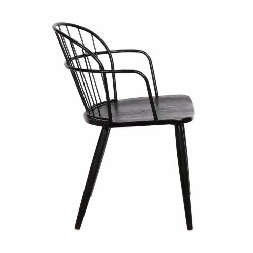 Bradley Steel Framed Dining Room Chair in Black Perspective: top