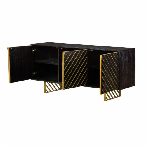 Monaco Rectangular Black Wood Sideboard with Antique Brass Accent Perspective: top