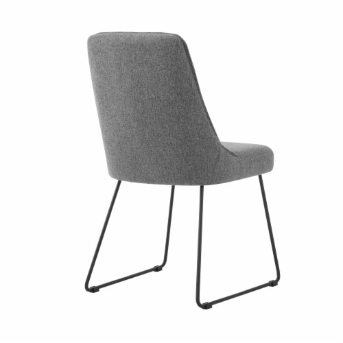 Quartz Gray Fabric and Metal Dining Room Chairs - Set of 2 Perspective: top