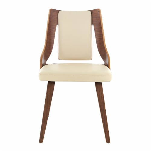 Aniston Cream Faux Leather and Walnut Wood Dining Chairs - Set of 2 Perspective: top