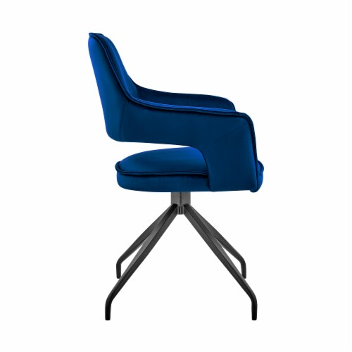 Hadley Dining Room Accent Chair in Blue Velvet with Black Finish Perspective: top