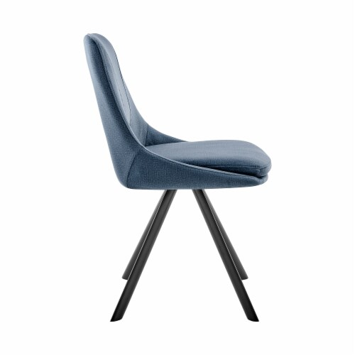 Lexi Dining Room Accent chair in Blue Velvet and Black Finish Perspective: top