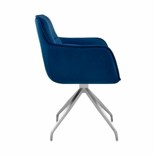 Noah Dining Room Accent Chair in Blue Velvet and Brushed Stainless Steel Finish Perspective: top