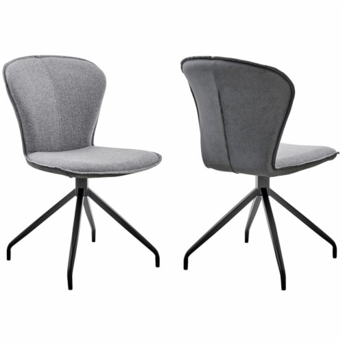 Petrie Dining Room Accent Chair in Grey Fabric and Black Finish - Set of 2 Perspective: top