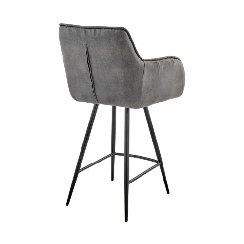 """Verona 26"""" Counter Height Bar Stool in Charcoal Fabric and Black Finish Perspective: top"""