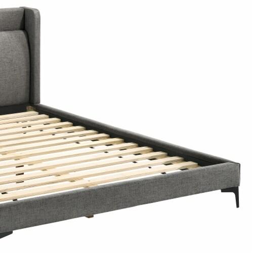 Legend Gray Fabric Queen Platform Bed with Black Metal Legs Perspective: top