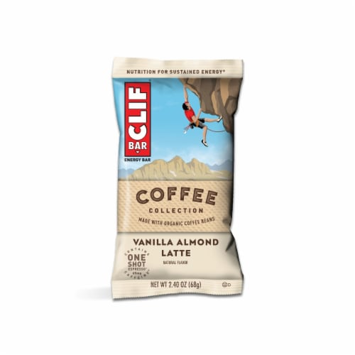 Clif Bar Coffee Collection Vanilla Almond Latte Energy Bar Case Sale Perspective: top