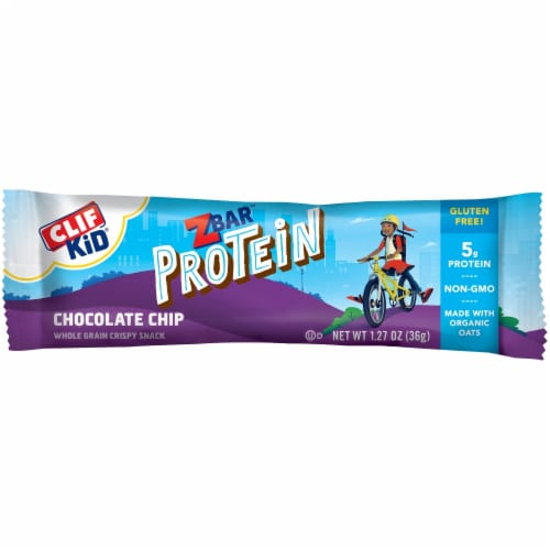 Clif Kid ZBar Protein Chocolate Chip Whole Grain Crispy Snack Bars Perspective: top