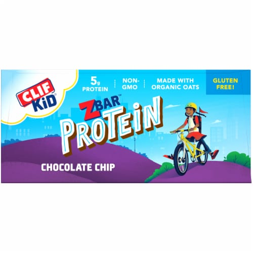 Clif ZBar Kid Protein Chocolate Chip Whole Grain Crispy Snack Bars Perspective: top
