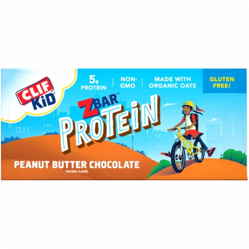 Clif Z Bar Kid Protein Peanut Butter Chocolate Whole Grain Crispy Snack Bars Perspective: top