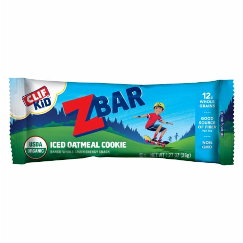 Clif Z Bar Kid Iced Oatmeal Cookie Baked Whole Grain Energy Snack Bars Perspective: top