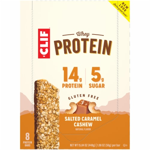 Clif Salted Caramel Cashew Whey Protein Bars Perspective: top