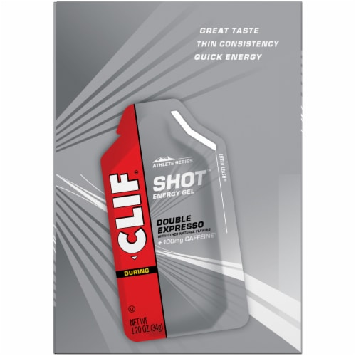 Clif Shot During Athlete Series Double Expresso Energy Gel Packets Perspective: top