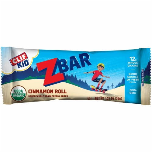 Clif Kid Z Bar Cinnamon Roll Energy Snack Bars Perspective: top