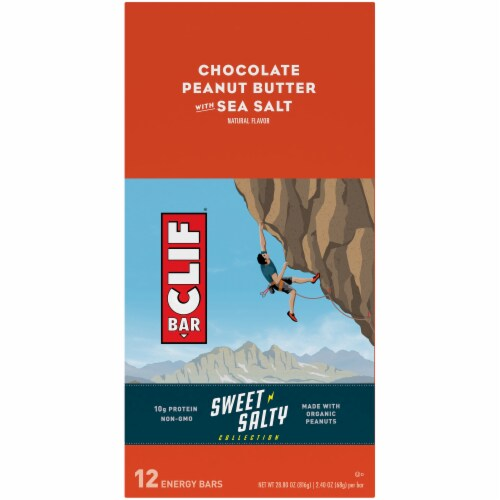 Clif Bar Sweet & Salty Chocolate Peanut Butter with Sea Salt Energy Bars Perspective: top