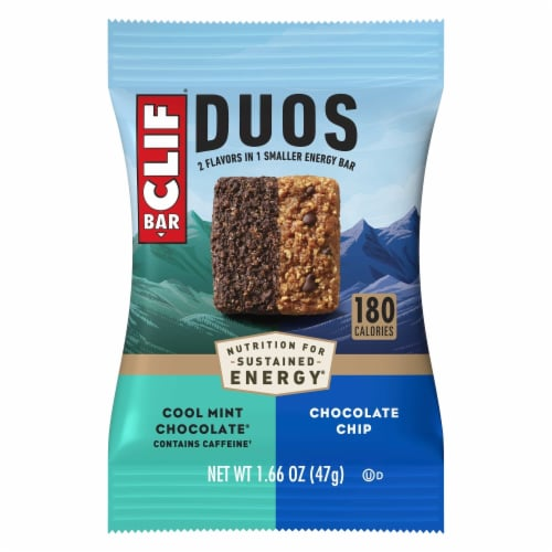 Clif Bar Duos Cool Mint Chocolate + Chocolate Chip Energy Bars Perspective: top