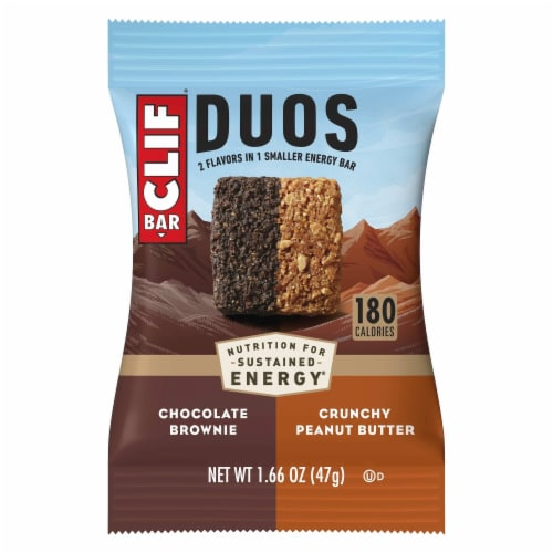 Clif Bar® Duos Chocolate Brownie + Crunchy Peanut Butter Energy Bar Perspective: top