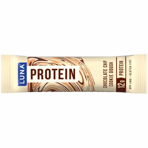 Luna Chocolate Chip Cookie Dough Protein Bars 12 Count Perspective: top